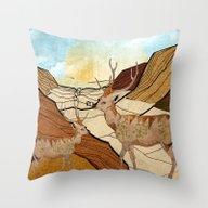 Desert Deers Throw Pillow