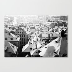 Prague, Snowy Rooftops Canvas Print