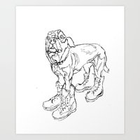 Ode to Doggie Boots Art Print