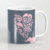 Pink Grey Paisley Elephant Pattern Design Mug