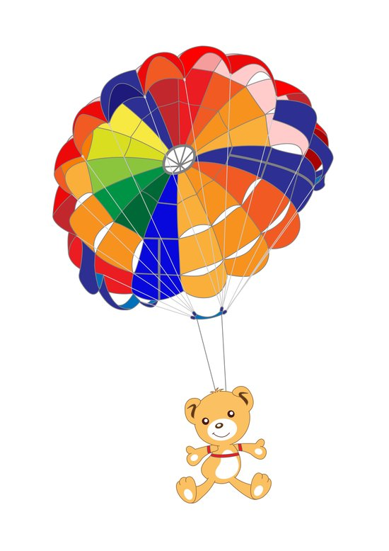 Parachuting Bear 2 Art Print