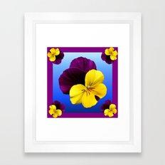 Decorative Shaded Blur Yellow-Purple Violas Art Framed Art Print
