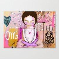 Om Meditation Woman Canvas Print