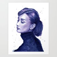 Audrey Hepburn Watercolor Portrait Art Print