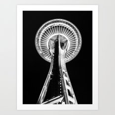 Seattle Space Needle B&W Art Print
