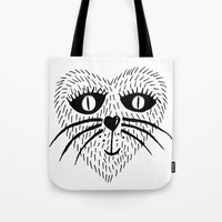 Kitty Love - Heart Cat Tote Bag