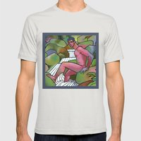 Red Nude On Mossy Rocks Mens Fitted Tee Silver SMALL