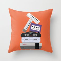 Nintendo Consoles Throw Pillow