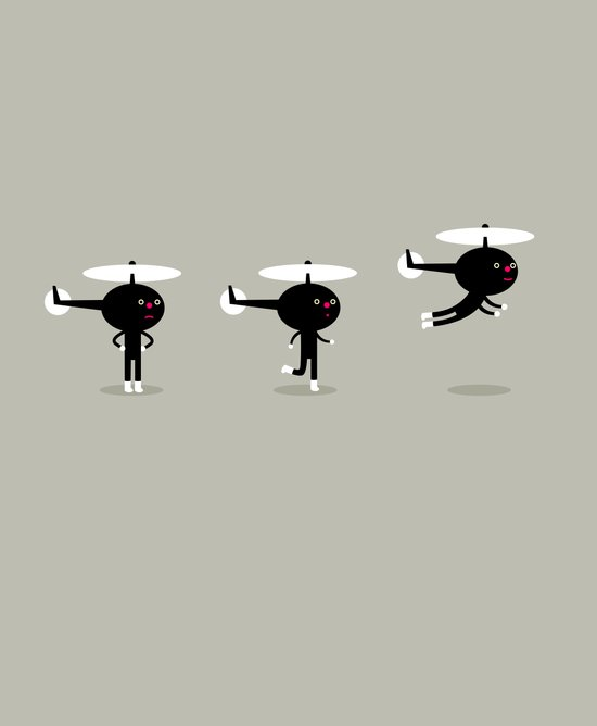Help us helicopter Art Print