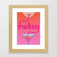 Friday Cocktail Letterin… Framed Art Print
