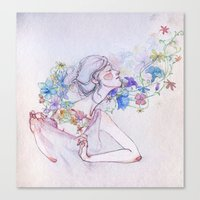 The Lady And The Flowers… Canvas Print