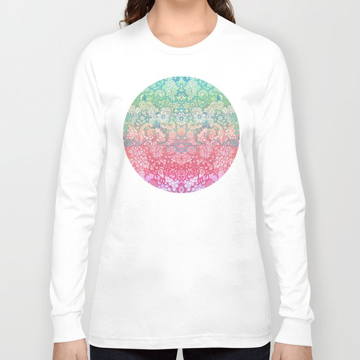 Soft pastel rainbow doodle long sleeve t shirt by micklyn for Pastel colored men s t shirts