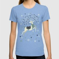 Prancing Reindeer Womens Fitted Tee Tri-Blue SMALL