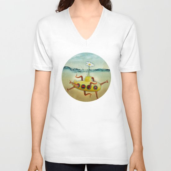 yellow submarine in an octapuses garden V-neck T-shirt
