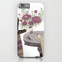 Girl, her Dog and bouquet of Flowers iPhone 6 Slim Case