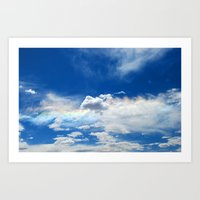 Clouds and rainbow Art Print