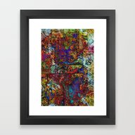 Abstract In Red & Blue Framed Art Print