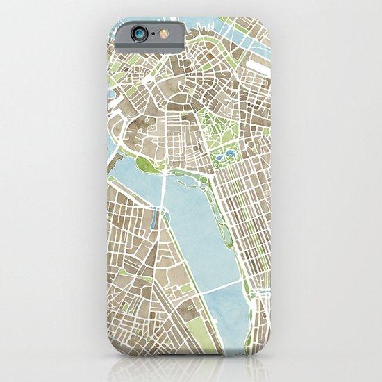 Boston Sepia Watercolor Map iPhone & iPod Case