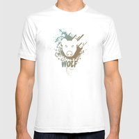 Wolf | Zoo Serie Mens Fitted Tee White SMALL
