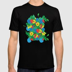 Vector Flowers Mens Fitted Tee Black SMALL