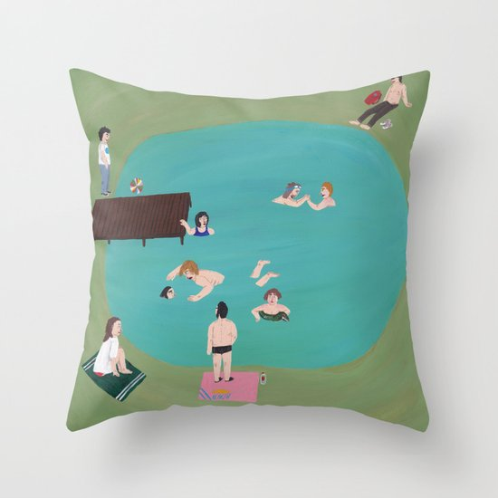 At the Quarry Pond Throw Pillow