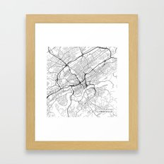 Knoxville Map, USA - Black and White Framed Art Print