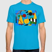 Abstract Art Deco Bermuda Mens Fitted Tee Teal SMALL