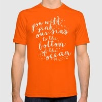 DEEPER THAN THE OCEAN Mens Fitted Tee Orange SMALL