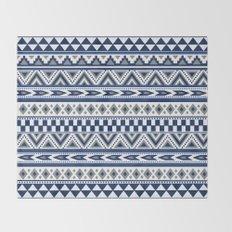 Tribal Art Pattern Navy Blue Silver White  Throw Blanket