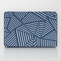 Abstraction Linear Zoom Navy iPad Case