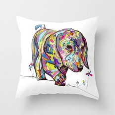 Rainbow Dappled Dachshun… Throw Pillow