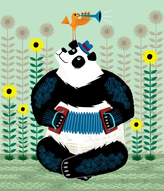 Panda Piazzolla and The Trumpet Bird Art Print
