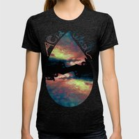 Acid Wash Womens Fitted Tee Tri-Black SMALL