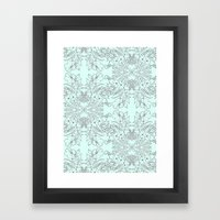 Dotted Floral Scroll in Mint and Grey Framed Art Print