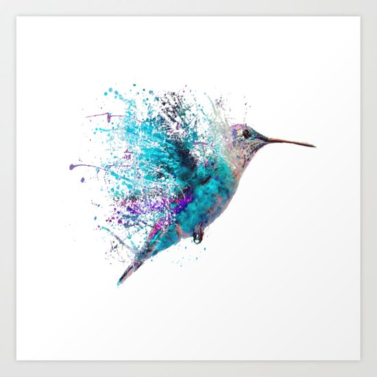 Humming Bird Splash Art Print By John Gray Society6