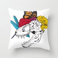 Dinosaur Skull  Throw Pillow