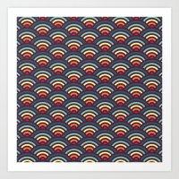 rainbowaves pattern Art Print