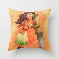 Cold Weather Kiss Throw Pillow