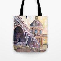 Paris, Pont des arts and institute de France - watercolor painting  Tote Bag