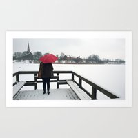 Copenhagen - Red Umbrell… Art Print