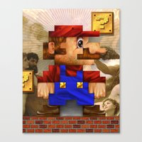 Super Mario Pixelated Realism Canvas Print