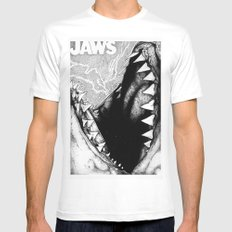 Jaws Mens Fitted Tee SMALL White