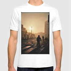 Foggy City White Mens Fitted Tee SMALL