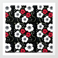 Black Anemone Print Art Print