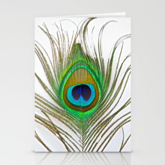 Peacock Feather on white Stationery Card