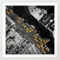 New York City, Yellow Cabs | B/W  Art Print
