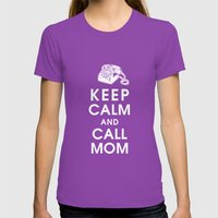 Keep Calm and Call Mom Womens Fitted Tee Ultraviolet SMALL