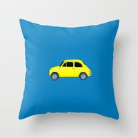 A Tiny Fiat (blue) Throw Pillow