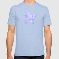 Lavender and white swirls doodles Mens Fitted Tee Tri-Blue SMALL