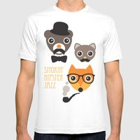Hipster mustache animal jazz illustration design Mens Fitted Tee White SMALL